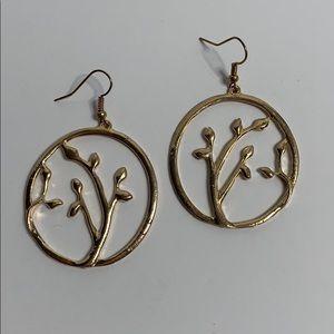 Gold tree design earrings